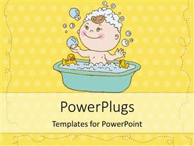 PowerPlugs: PowerPoint template with depiction of little kid in bath with soap bubbles on yellow background
