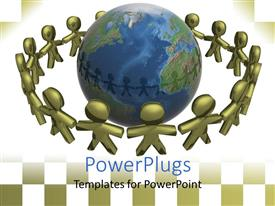 PowerPlugs: PowerPoint template with depiction of lot of people holding hands around an earth globe