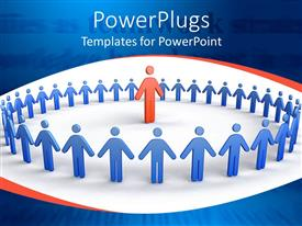 PowerPlugs: PowerPoint template with depiction of lots of blue colored people forming a circle round red figure