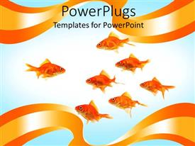 PowerPlugs: PowerPoint template with depiction of lots of gold fishes on a white background