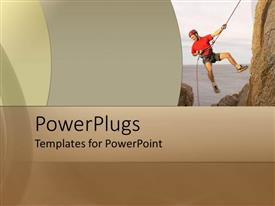 PowerPlugs: PowerPoint template with depiction of a man climbing a mountain on a rope