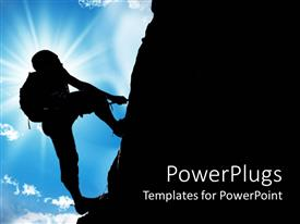 PowerPlugs: PowerPoint template with depiction of a man climbing a mountain on a sunny day