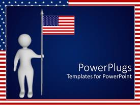 PowerPlugs: PowerPoint template with depiction of man holding American flag on navy blue background