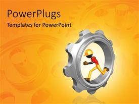 PowerPlugs: PowerPoint template with depiction of man running in Chrome gear with reflection in background