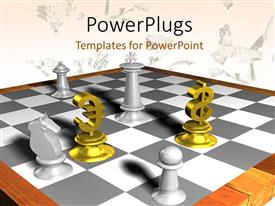 PowerPlugs: PowerPoint template with depiction of marble chess board with gold euro and dollar piece