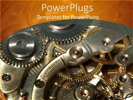 PowerPlugs: PowerPoint template with the depiction of the mechanism of an ancient clock