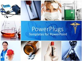 PowerPlugs: PowerPoint template with a depiction of medical related people, material and signs