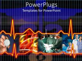 PowerPlugs: PowerPoint template with a depiction of medical staff along with heartbeat lines