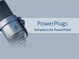 PowerPlugs: PowerPoint template with a depiction of a mike with grey background and place for text