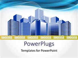 PowerPlugs: PowerPoint template with depiction of a modern business city over white background