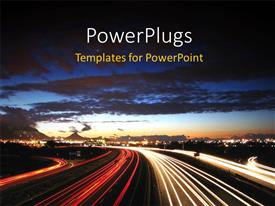 PowerPlugs: PowerPoint template with depiction of modern industrialized city with highway in night sky