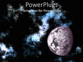 PowerPlugs: PowerPoint template with depiction of the moon in space, with galaxy and stars on dark background