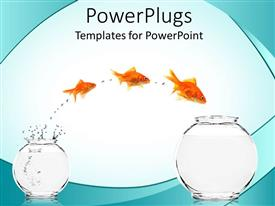 PowerPoint template displaying the depiction of motivation with a fish jumping from one place to another