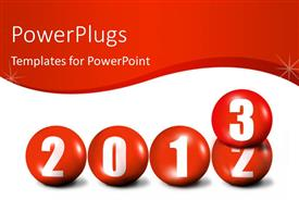 PowerPlugs: PowerPoint template with depiction of movement from year 2012 to 2013 with red spheres