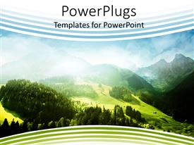 PowerPoint template displaying a depiction of nature with greenery, mountains and clouds
