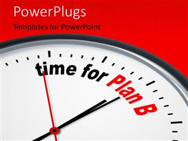 PowerPlugs: PowerPoint template with depiction of a nice clock with time for Plan B against a red background with keywords