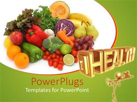 PowerPoint template displaying a depiction of a number of fruits together at a place along with the word health