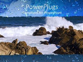 PowerPoint template displaying the depiction of an ocean with rocks and tides as well as water droplets
