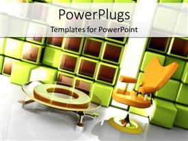 PowerPlugs: PowerPoint template with a depiction of an office with chair and table