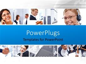 PowerPlugs: PowerPoint template with depiction of office workers and customer support agent