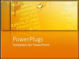 PowerPlugs: PowerPoint template with depiction of an orange colored slab with international airport destinations