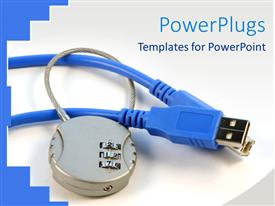 PowerPlugs: PowerPoint template with a depiction of a pair of network cable being locked