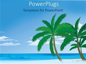 PowerPoint template displaying depiction of palm trees on a beach with blue sea and sky