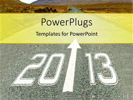 PowerPoint template displaying depiction of path leading to new year with mountains in distance