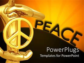 PowerPoint template displaying depiction of PEACE with gold plated man holding symbol in hand