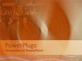 PowerPlugs: PowerPoint template with depiction of people walking on a city street with buildings