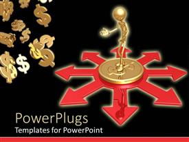 PowerPlugs: PowerPoint template with depiction of a person standing on a golden dollar coin