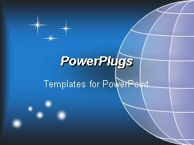 PowerPlugs: PowerPoint template with depiction of  a plain blue background and a globe