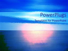 PowerPlugs: PowerPoint template with depiction of a plain blue background with sunset view
