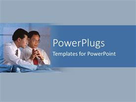 PowerPlugs: PowerPoint template with depiction of a plain blue and white background with two people