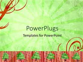 PowerPlugs: PowerPoint template with depiction of a plain green background with trees and dots