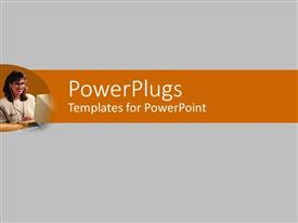 PowerPoint template displaying depiction of plain white background with a smiling female