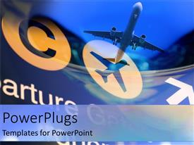 PowerPlugs: PowerPoint template with depiction of a plane flying on a blueish hue background