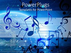PowerPlugs: PowerPoint template with the depiction of planets in the background and music signs in front