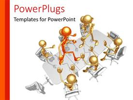 PowerPlugs: PowerPoint template with depiction of poor leadership with leader fighting follower on conference table