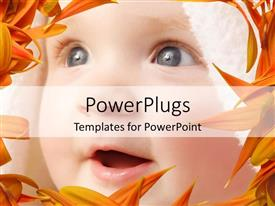 PowerPlugs: PowerPoint template with depiction of a pretty baby smiling and also staring