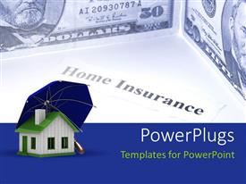 PowerPoint template displaying depiction of property insurance with umbrella covering 3D house
