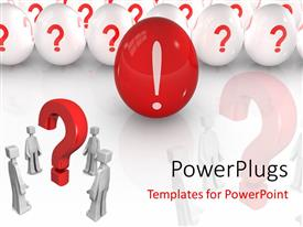 PowerPlugs: PowerPoint template with depiction of red egg with exclamation mark leading others with question mark