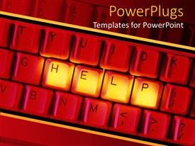 PowerPlugs: PowerPoint template with depiction of a red keyboard with help text in gold