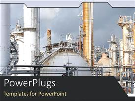 PowerPoint template displaying depiction of a refinery plant on a sky background