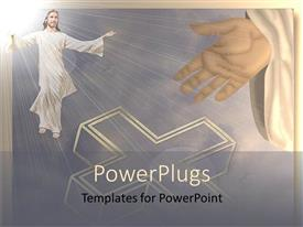 PowerPlugs: PowerPoint template with depiction of resurrection as Jesus rises into cloud with glow of light