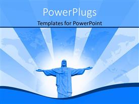 PowerPlugs: PowerPoint template with depiction of resurrection with statue of Jesus over world map in background