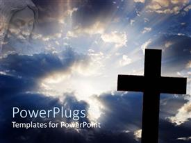 PowerPoint template displaying depiction of resurrection with wooden cross over bright light from cloudy sky