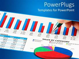 PowerPoint template displaying a depiction of a sales chart along with a pen
