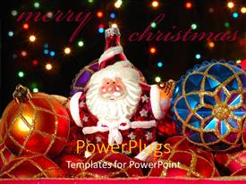 PowerPlugs: PowerPoint template with depiction of Santa clause with different colored Christmas ornaments
