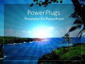 PowerPlugs: PowerPoint template with depiction of sea water and beautiful island with palm trees and clear sky with focus on sun rays